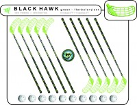 Florbalový set BLACK HAWK Green