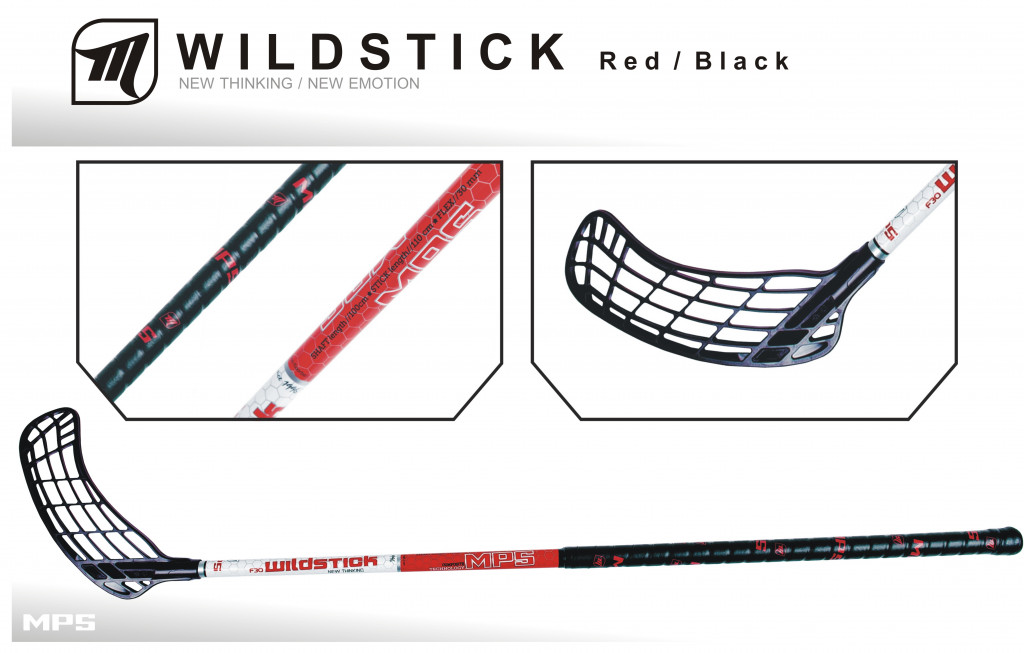 Florbalová hokejka MPS WILDSTICK Red - Black